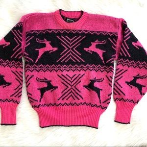 Vintage Hot Pink Wool Holiday Fair Aisle Sweater